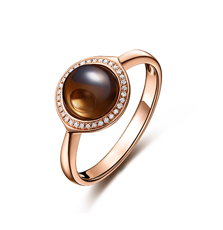 智慧之眼德赢尤文图斯红18k金茶晶钻石戒指