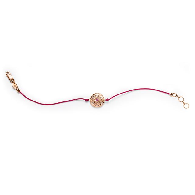 布拉格必威体育平台登录 红18k金钻石红绳手链
