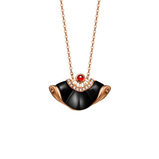 善缘新版万博客户端下载 红18k金黑玛瑙钻石坠链