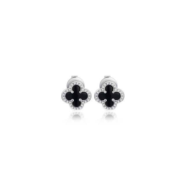 情迷威尼斯新版万博客户端下载 祈迹 18K金黑玛瑙钻石耳钉