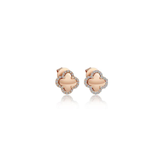 情迷威尼斯新版万博客户端下载 四叶草 红18K金钻石耳钉