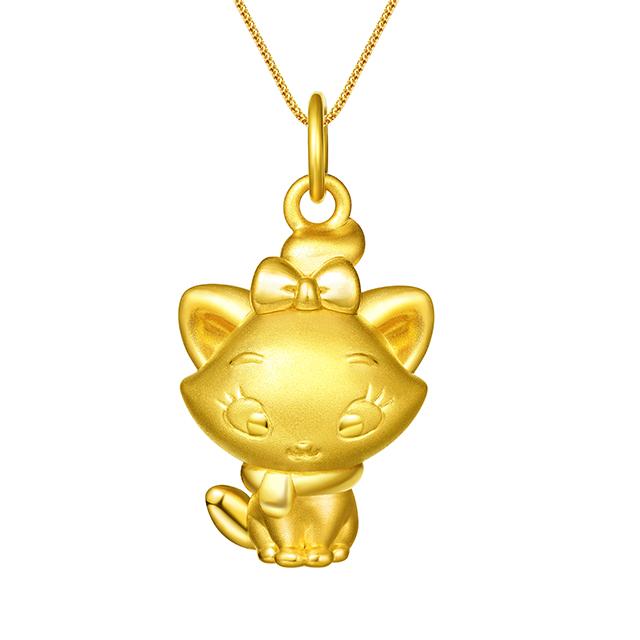 迪士尼玛丽猫新版万博客户端下载3D黄金吊坠正面全身款