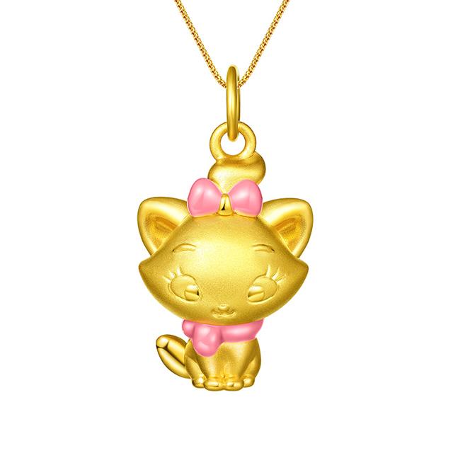 迪士尼玛丽猫新版万博客户端下载3D黄金吊坠粉色正面全身款