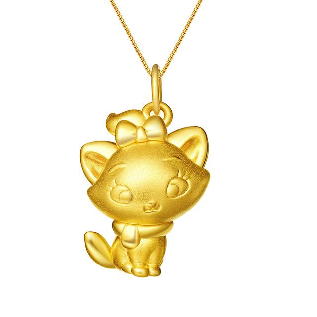 迪士尼玛丽猫新版万博客户端下载3D黄金吊坠侧身款