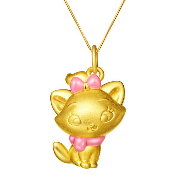 迪士尼玛丽猫新版万博客户端下载3D黄金吊坠粉色侧身款