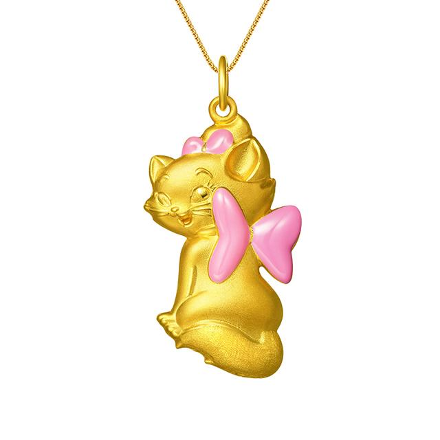 迪士尼玛丽猫新版万博客户端下载3D黄金吊坠粉色回眸款