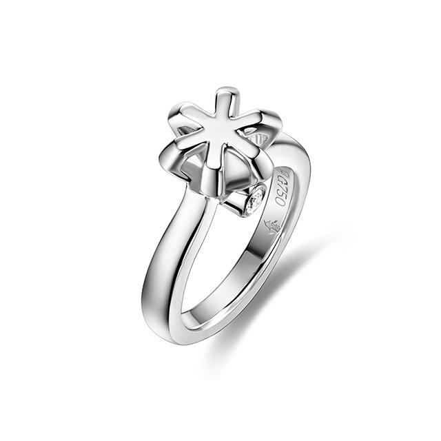 丘比特德赢尤文图斯白18K金钻石戒指